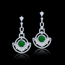 Round Emerald Diamond Deco Earrings