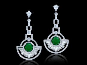 Round Emerald and Diamond Deco Earrings