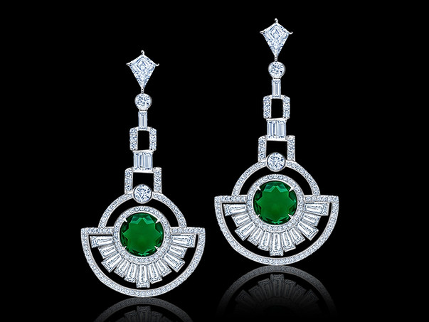 Round Emerald and Diamond Deco Earrings