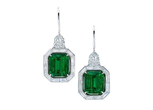 Octagonal Vivid Green Emerald Earrings