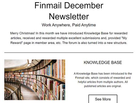 Finmail December Newsletter