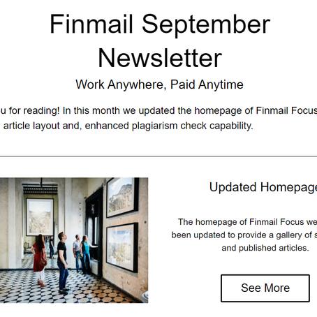 Finmail September Newsletter