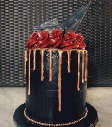 Black & Rose Gold Drip Cake