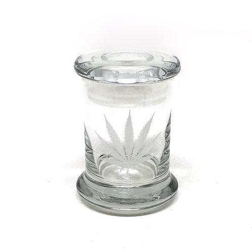 420JAR  Glass Jar with cannabis leaf pop top