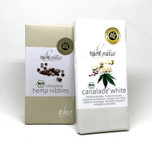 HANF-NATURE white chocolate with roasted cannabis seeds