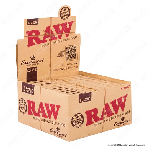 RAW classic  KingSize Slim with Tips Natural Rolling Papers
