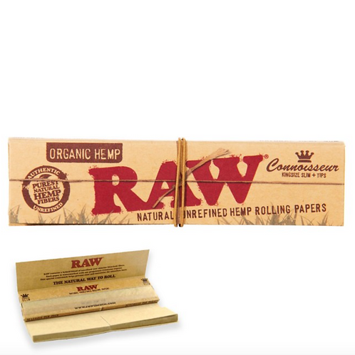 RAW Organic Hemp Connoisseur KingSize Slim with Tips Natural Rolling Paper