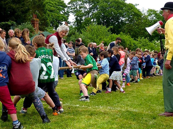 Tug of war on the village green