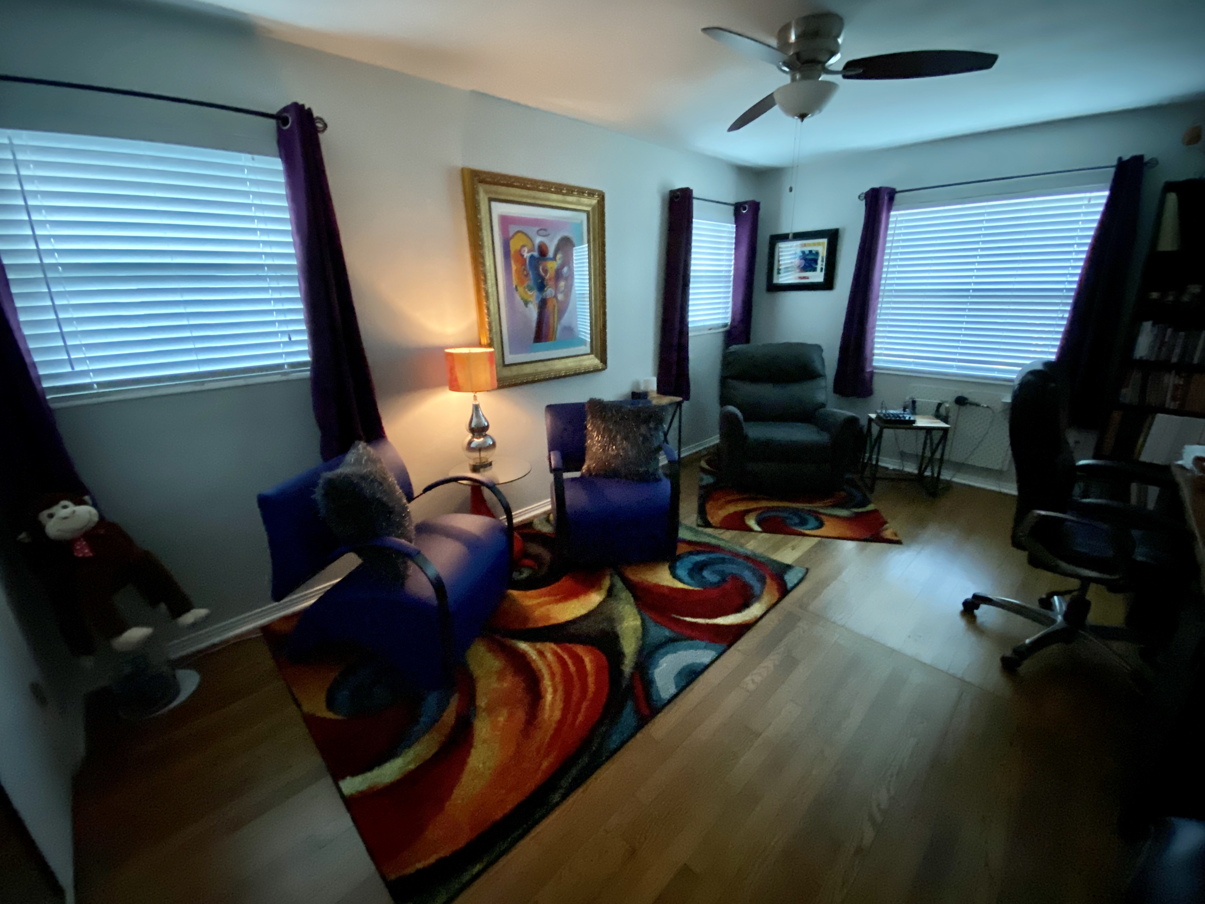 Our office at Wings Hypnosis, colorful, yet warm and inviting.