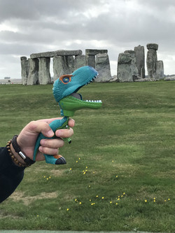 Gerry A T-rex at Stonehenge.