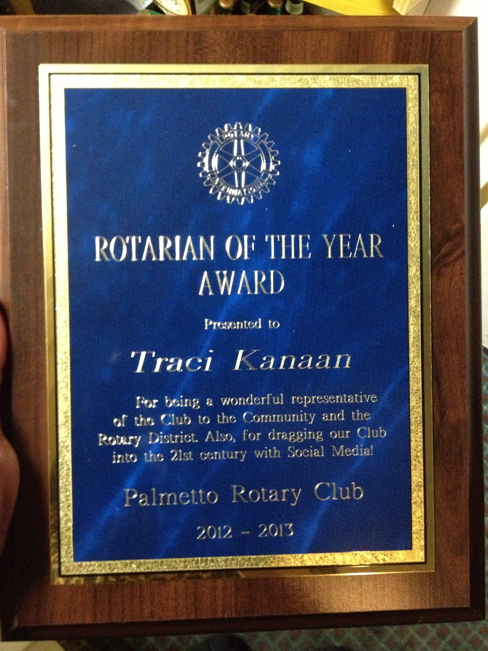 Palmetto Rotary, Rotarian of the Year Award