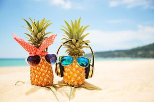 Couple of attractive pineapples in love