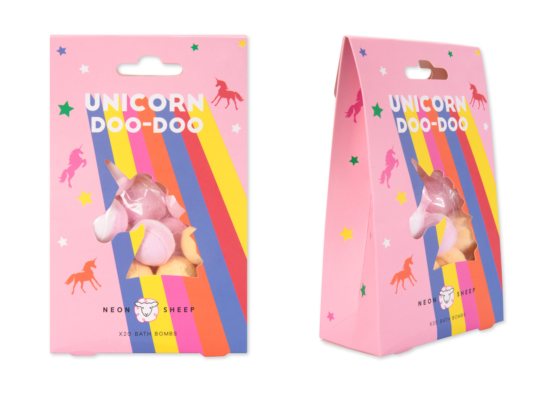 Bath bomb packaging for Neon Sheep