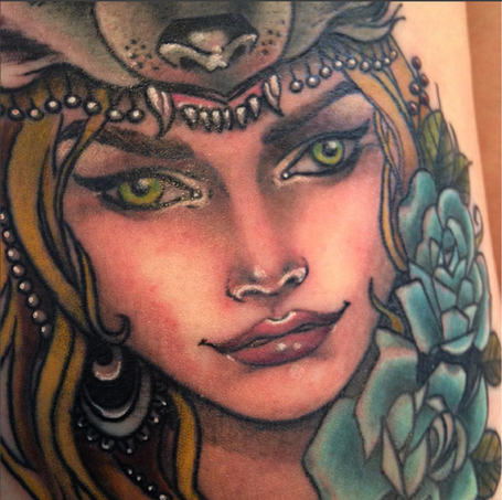 neotraditional tattoo by Liz Reyes