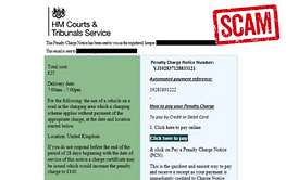 Penalty Charge email scam warning