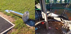 Vandals damage park sanitiser and pod