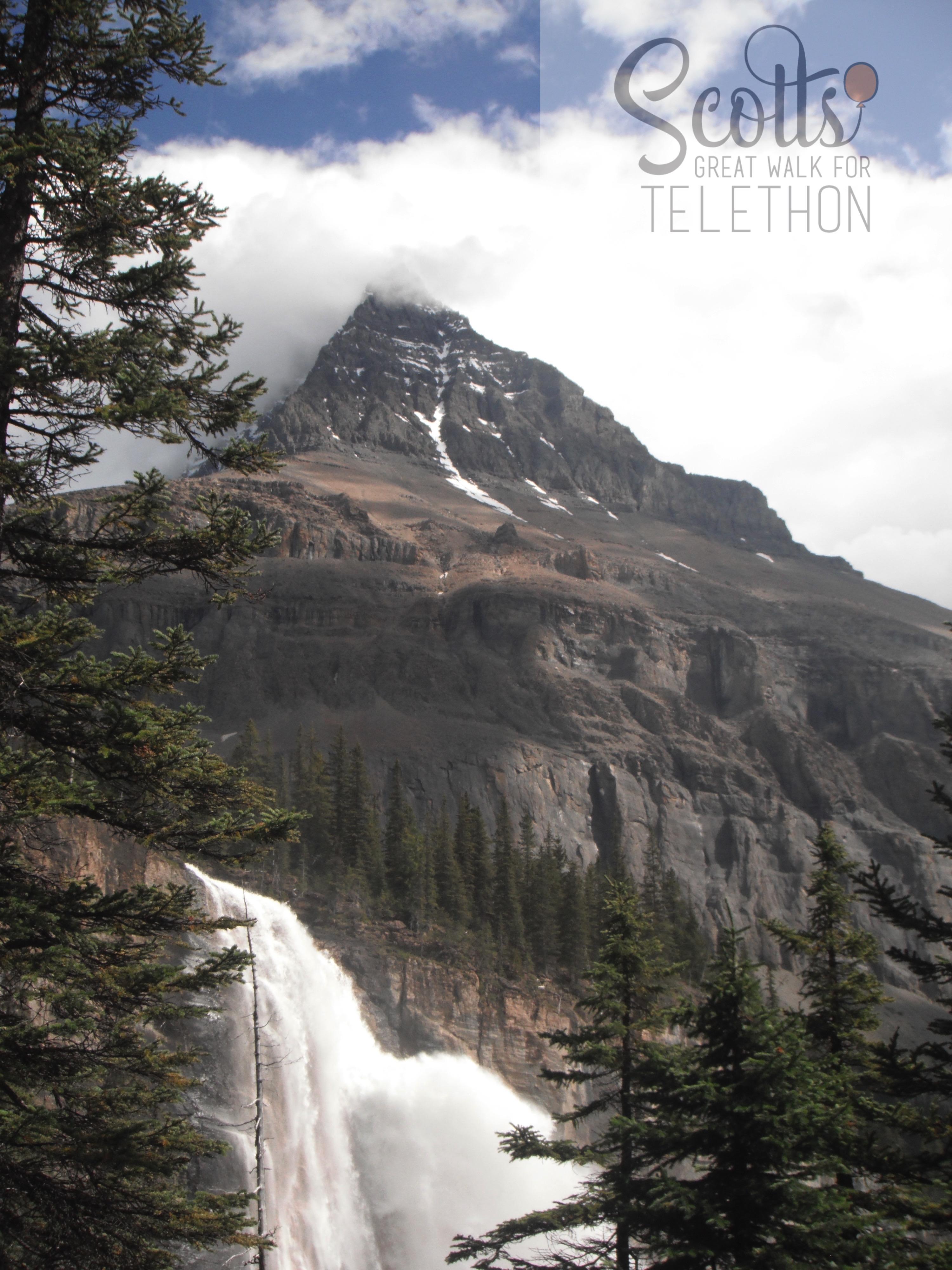 Mountain meets waterfall