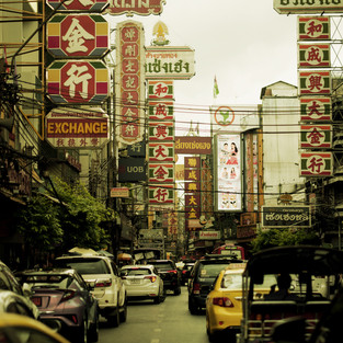 Bangkok street with banners