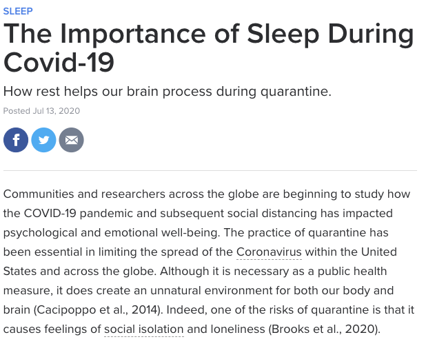 The importance of sleep during COVID-19