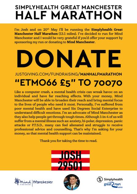 SimplyHealth Great Manchester Half Marathon 2018 Fundraising A4 Poster