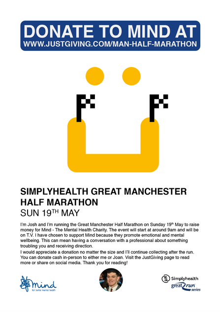 SimplyHealth Great Manchester Half Marathon 2019 Fundraising A4 Poster