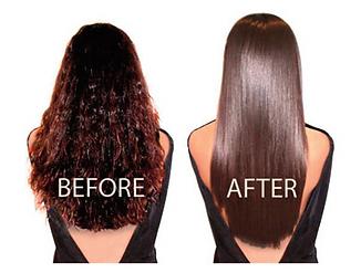 before and after shot of keratin treatment salon entourage