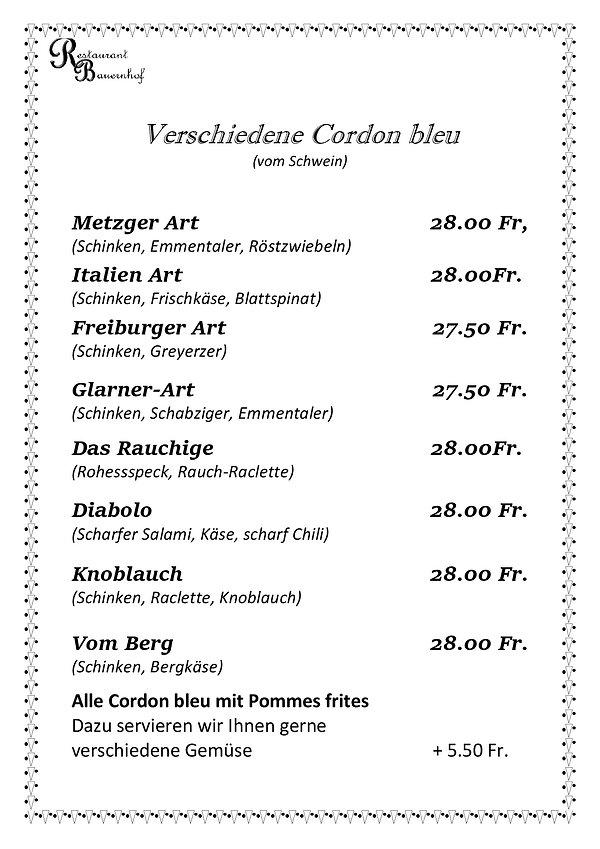 Beiblatt in Speisekarte Cordon-Bleu 20.j