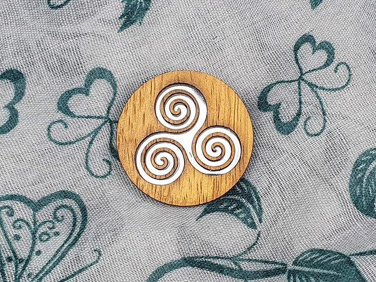 Spiral Celtic Knot Mirror Brooch