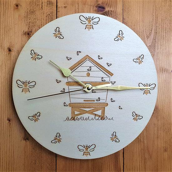 The Bee Hive Clock, Light Oak