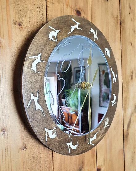 The Running Hare Mirror Clock
