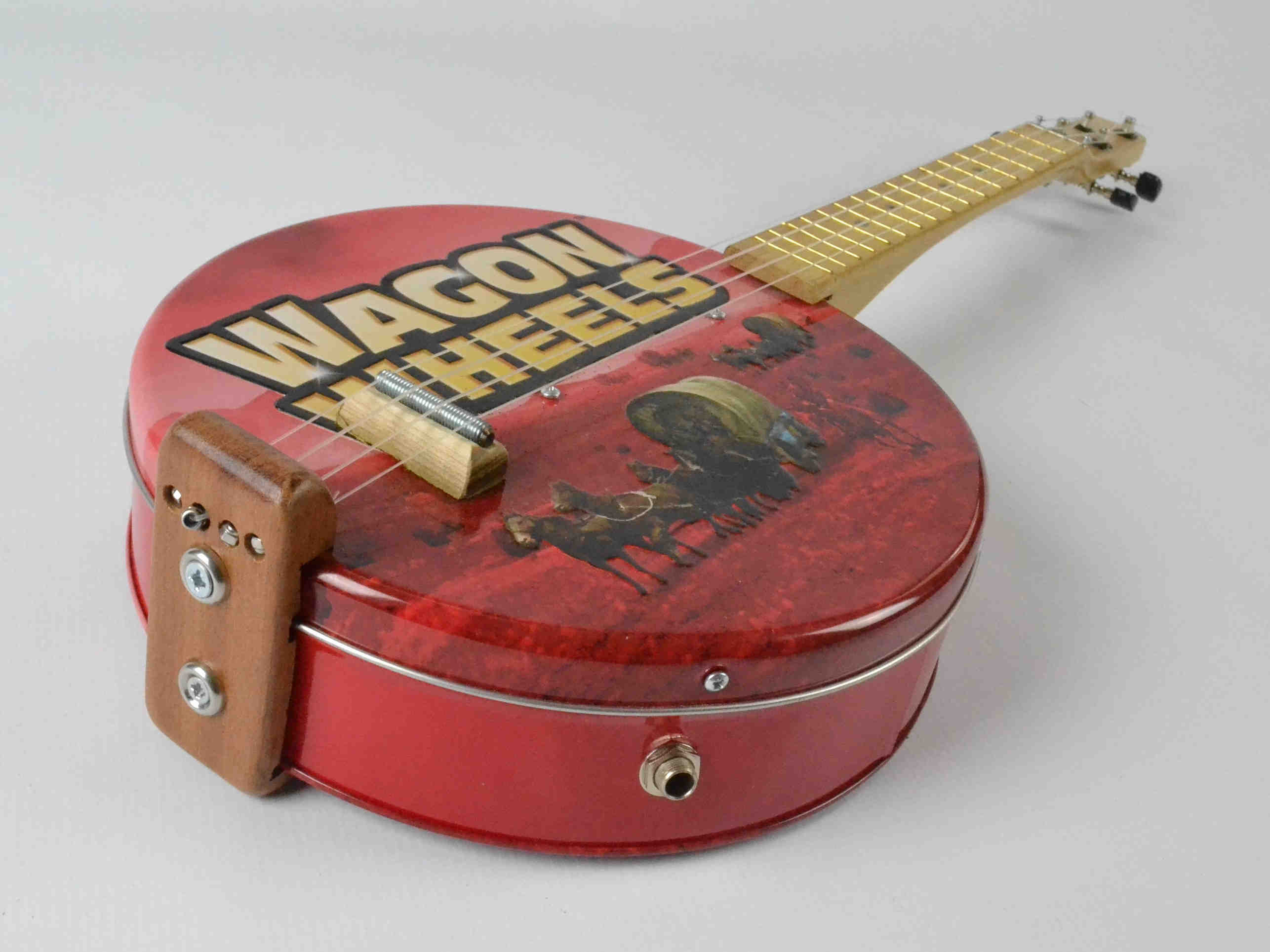 Upcycled Wagon Wheels Tin Ukulele