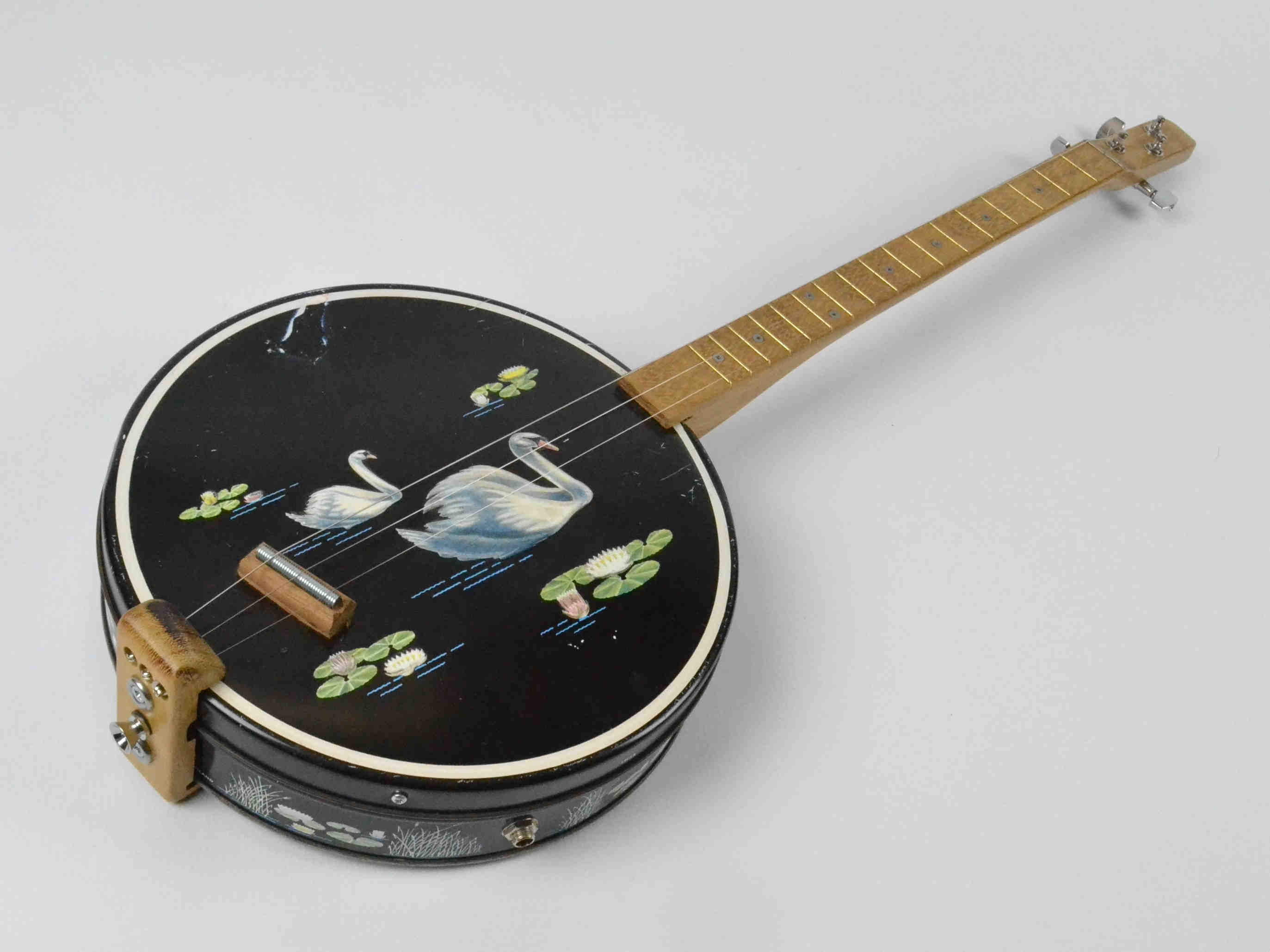 Vintage Swan Design Tin Guitar