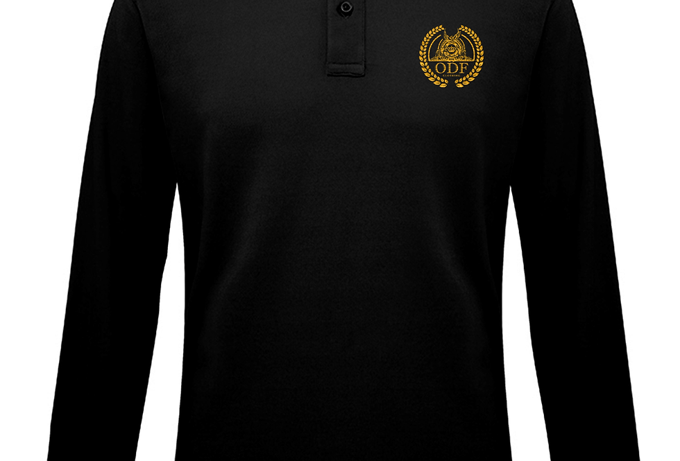 BLACK LONG SLEEVE POLO - GOLD EMBLEM