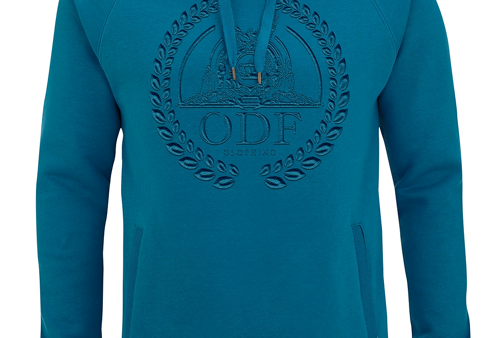 (TURQUOISE/TURQUOISE) UNISEX LOGO EMBROIDERED COTTON HOODIE