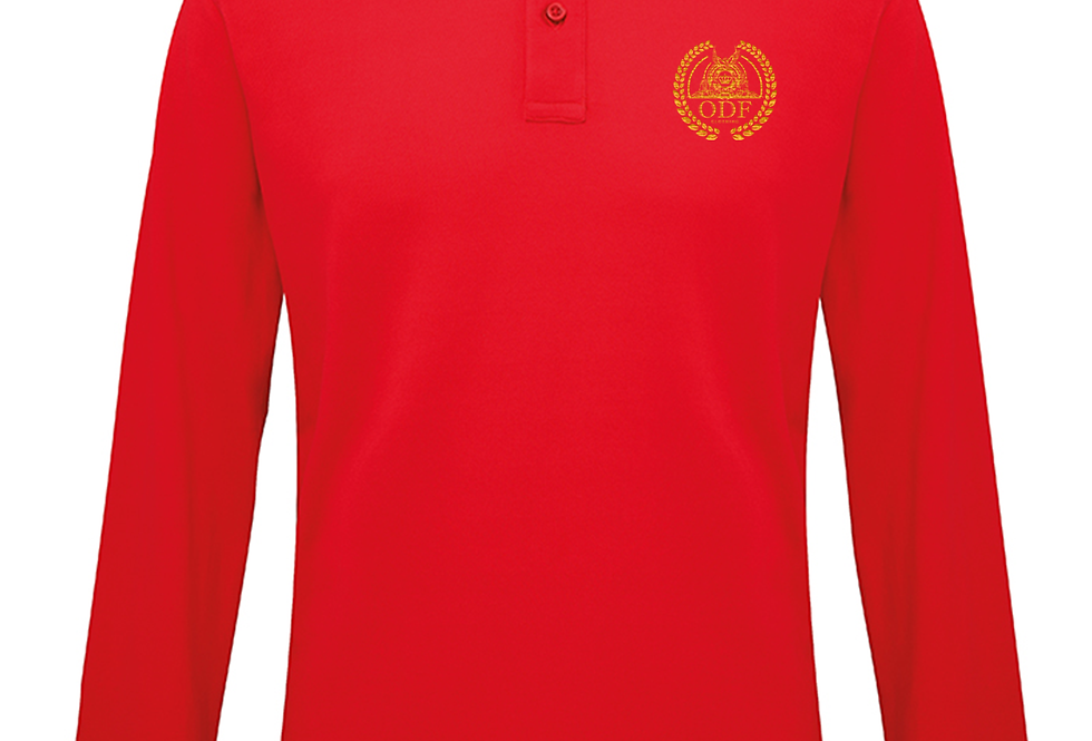 RED LONG SLEEVE POLO - GOLD EMBLEM