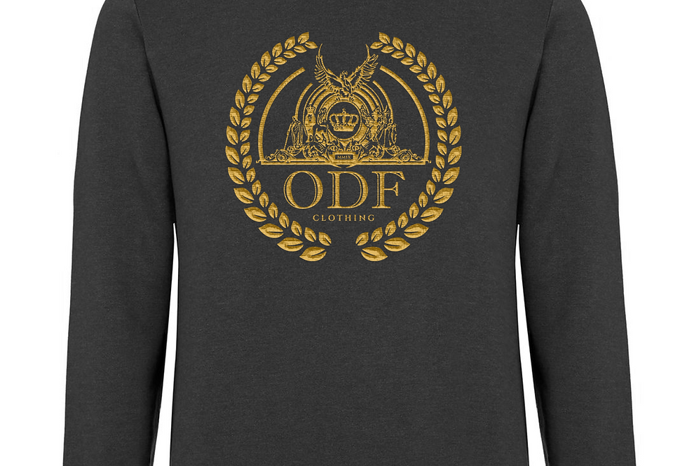 (DARK GREY/GOLD) UNISEX LOGO PRINT COTTON SWEATSHIRT