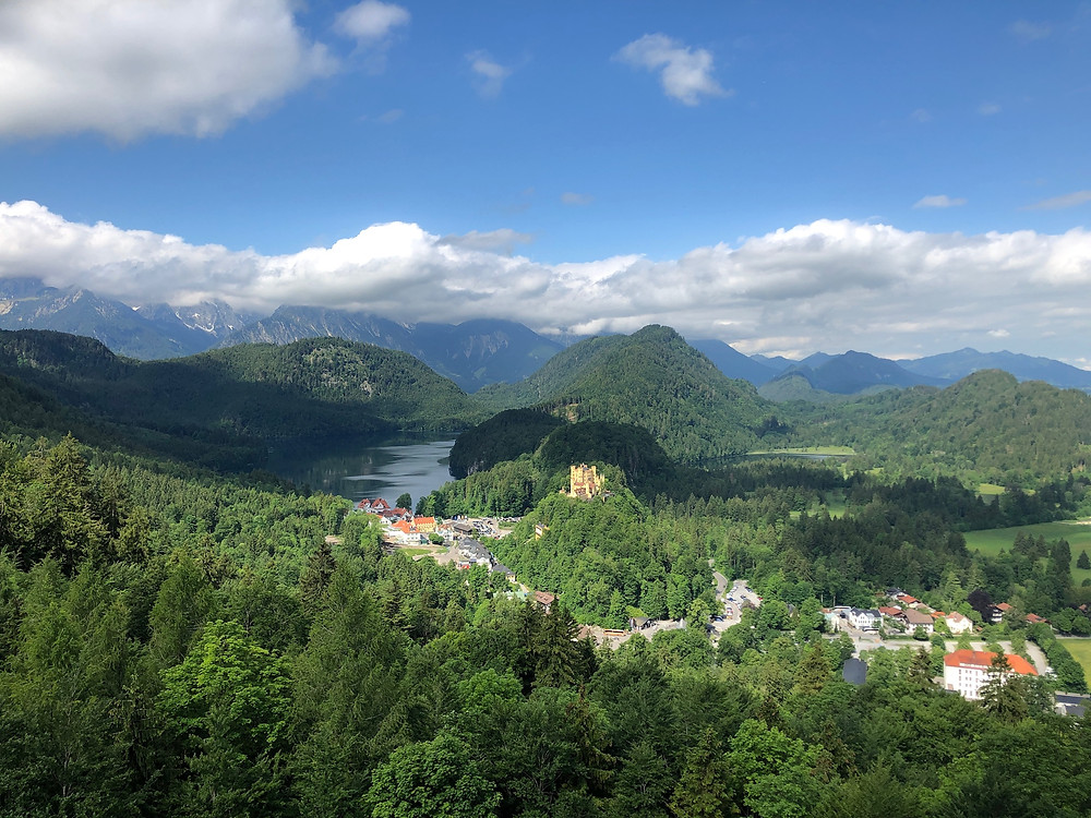 The view from Neuschwanstein Castle in Bavaria of The Fairytale King's father's castle, Hohenschwangau Castle.