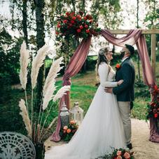 Wedding arch with drape