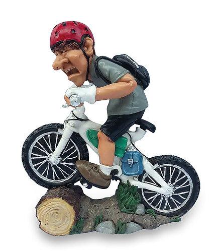 CILCLISTA MOUNTINA BIKE statuetta in resina dipinta a mano
