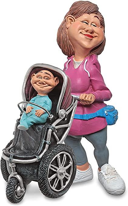 Mamma con bambino LES ALPES statuetta resina dipinta a mano