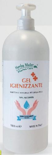 Gel igienizzante HERBA MATER 1000 ml. con dosatore - 70% Alcohol