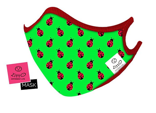 Mascherina Lady Bug Zitto Mask Kids vista frontale