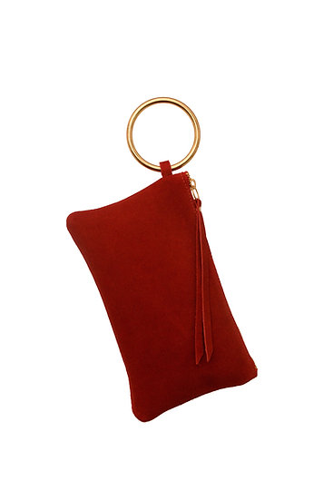 Red Suede Clutch with Gold Bangle Wristlet