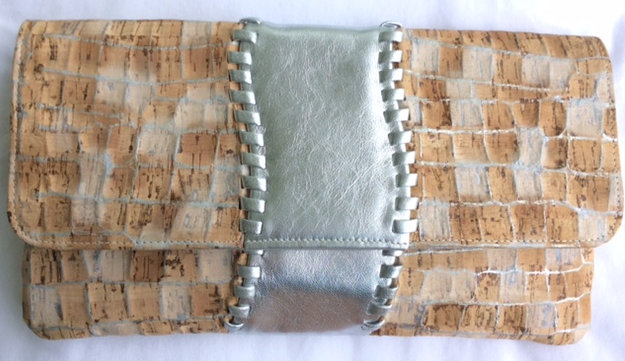 Patchwork Embossed Cork, Metallic Silver