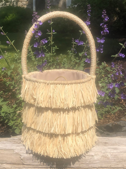 Raffia Fringe Bucket Bag