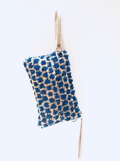 Blue Fleurette Bag with Shoulder Chain and Wristlet option