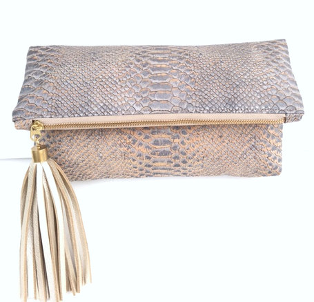 Embossed Blue-Grey Cork Clutch with Cross Body