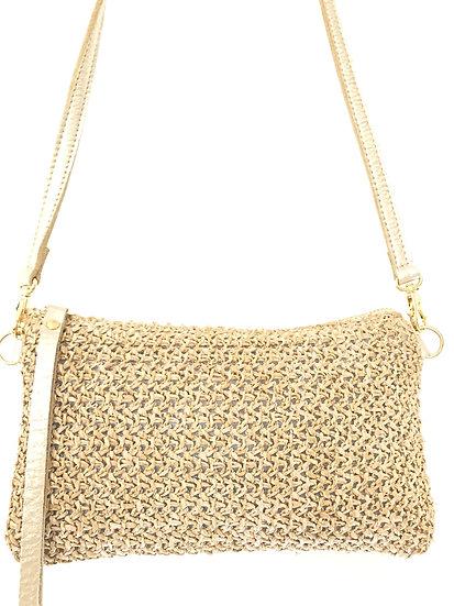 Metallic Gold Raffia Cross-Body Bag with Wristlet option