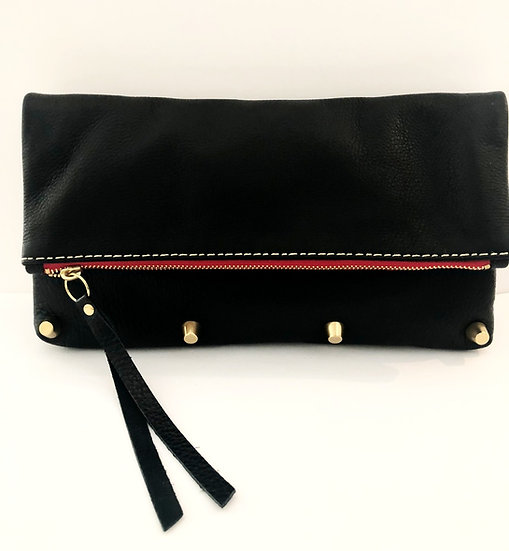 Black Leather Foldover Bag with Leather Cross-Body Strap