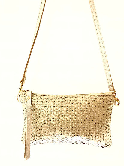 Gold Woven Leather Cross-Body with Wristlet option